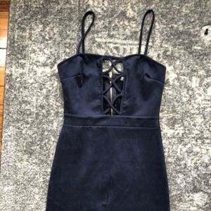 Dresses & Skirts - Navy Faux Suede Lattice Front Dress